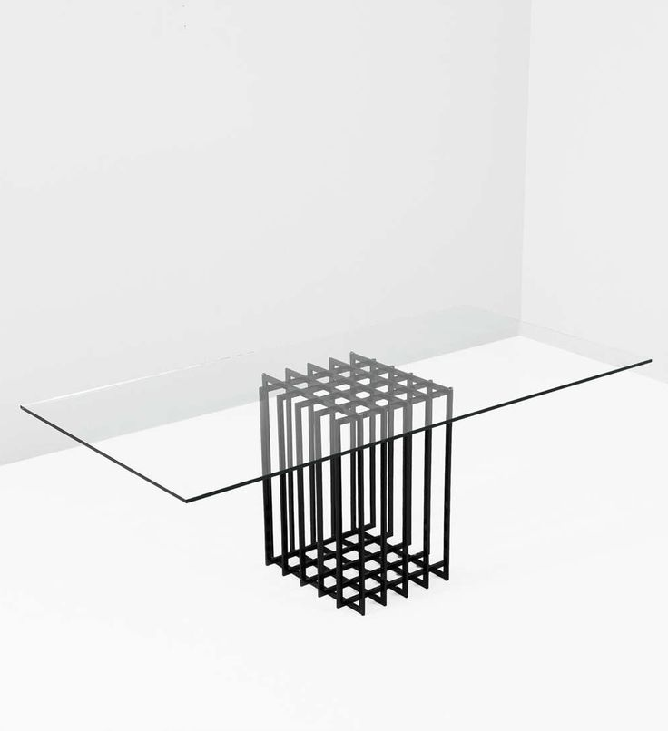 Pierre Cardin; Enameled Steel and Glass Dining Table, 1960s.