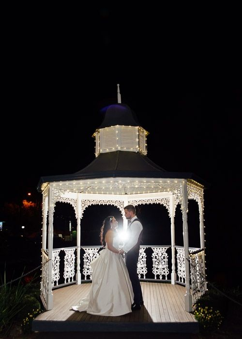 bride and groom in lit up gazebo #wedding #weddingphotography #melbourne http://www.millgrovephotography.com.au