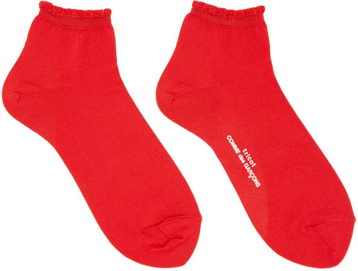 Image of Tricot Comme Des Garçons Red Ruffled Cuff Socks
