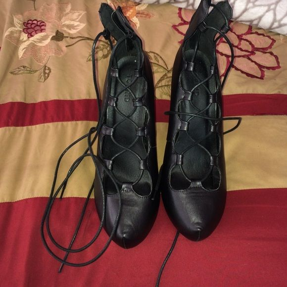 black heels black lace up heels never worn torrid Shoes Heels