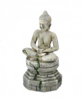 Decoración en poliresina para acuarios de agua dulce o de agua salada representando la estatua de Buda.   Dimensiones : Largo 9 x ancho 8.5 x alto 17.5 cm  Material : poliresina.