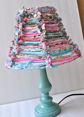 18 best new ideas for wire lamp shades images on pinterest lamp strips of fabric tied to wire lampshade frame greentooth Gallery
