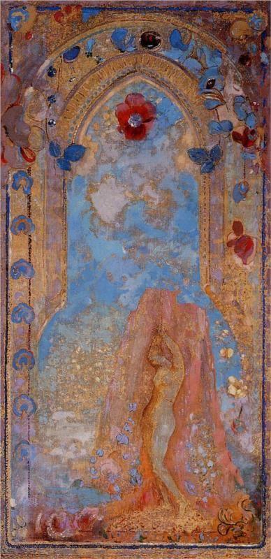 Odilon Redon (French: 1840–1916), [Post-impressionism, Symbolism] Andromeda, 1912.