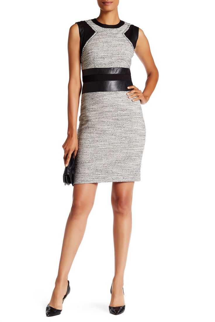 Rebecca Taylor Sleeveless Canyons Faux Leather Trim Tweed Dress