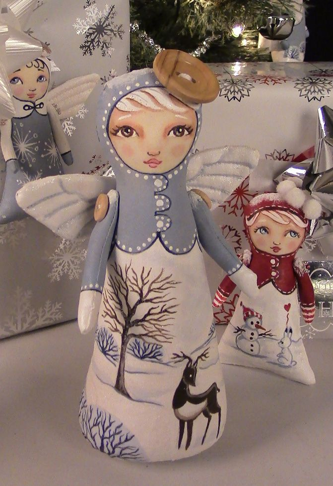 """Wee Winter Whimsies"" stump doll and tree trimmers by Hally Levesque for Artful Gathering Online Art Retreats Workshop July 16 to Aug 26 2016 - Registration opens May 1"
