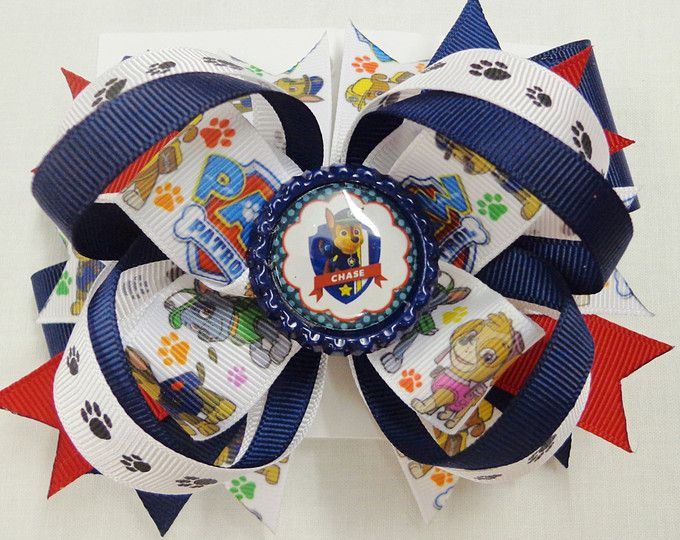 Paw Patrol Hair Bows, Nick Jr. Bow, Chase Bottle Cap, Paw Patrol Party Favors, 5 Inch Chase Hair Bow, 5 Inch Hair Bow, Paw Patrol Birthday