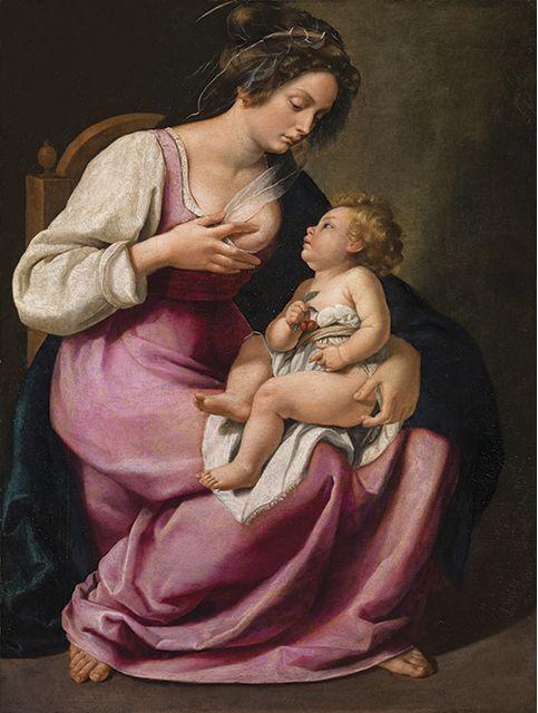 Artemisia Gentileschi, Madonna and Child (Madonna col Bambino), 1609–10. Oil on canvas. 46 1/2 × 33 7/8 in. Galleria Palatina, Palazzo Pitti, Florence