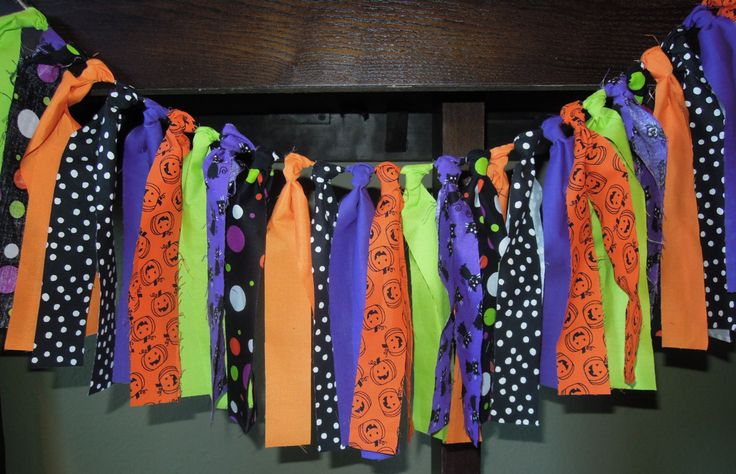 Halloween, Fabric Banner, Birthday, Party Decor, Highchair, Cake Smash, Photo Shoot, Mantle, Back Drop, Rag Tie by PumpkinSeedsCreation on Etsy