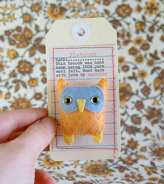 Owl brooch and packaging . Fletcher wool felt brooch woodland owl bird critter by Hannakin