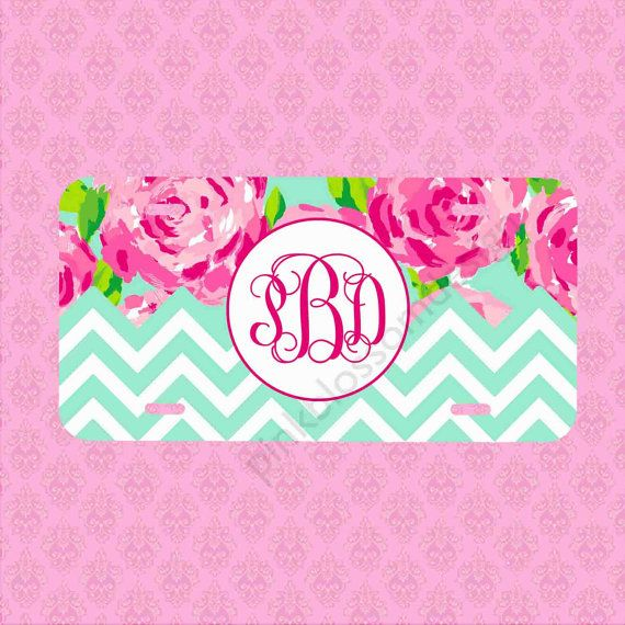 Front License Plate - Monogram Lilly Pulitzer Inspired Car Tag - Personalized Car Tag Monogram License Plate on Etsy, $15.99