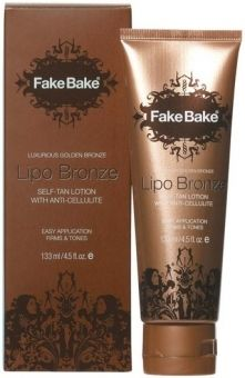 """Fake Bake Lipo Bronze-This self tanner helps get rid of cellulite while gradually building a natural tan. What's best is that it contains """"Show Where it Goes'"""" Cosmetic Colour Guide"""" to help apply with ease."""