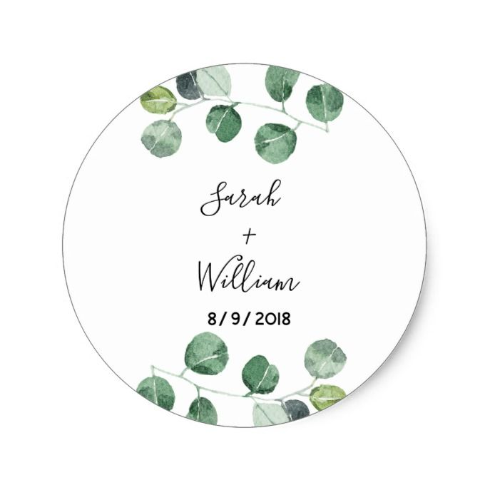 /'Thank You/' Square Stickers with Eucalyptus Wedding Single Sheet 35 Stickers