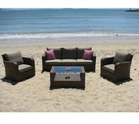 OUTDOOR FURNITURE.  Comfy 'Torino' Wicker outdoor couch Setting.  (Available in other colours).