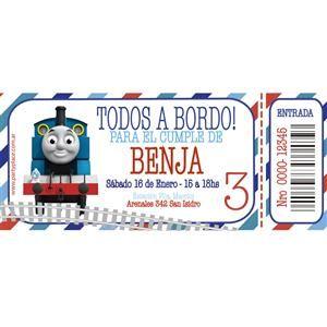 Invitaciones Tren Thomas personalizadas 12u - Decoracion Ambientacion Cotillón Fiestas y Cumpleaños