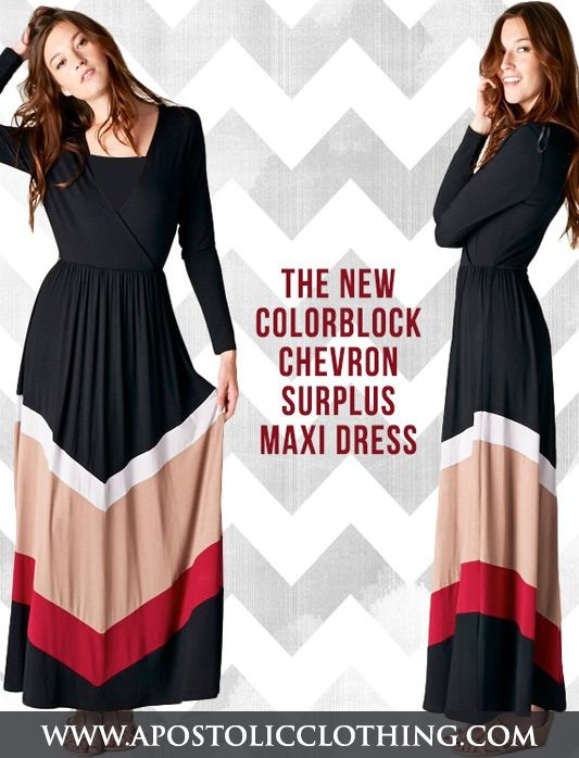 3ee4075072 Womens Modest Chevron Color Block Maxi Dress -Apostolic Clothing Co. | All  4 Types | Dresses, Clothes at Dress outfits