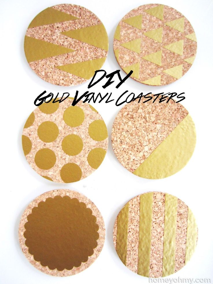 Decorate cork coasters with gold adhesive vinyl.  Great gift idea!