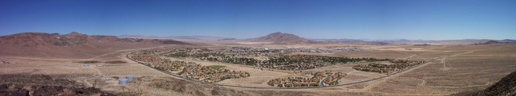 Fort Irwin, CA from Old Blackie, a spur covered in basaltic rock that gives a commanding view of the entire basin.