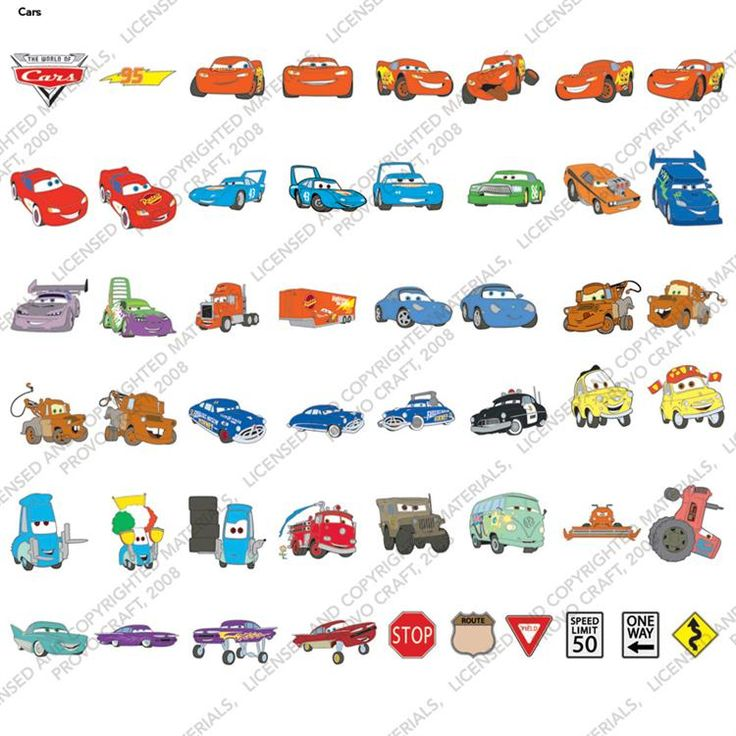 Disney/Pixar© Cars Cricut® Cartridge -for future reference of what characters look like