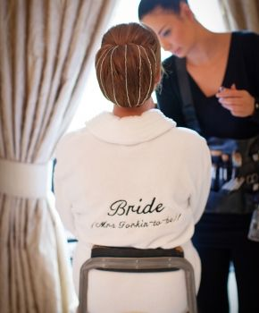 bride with quirky bathrobe