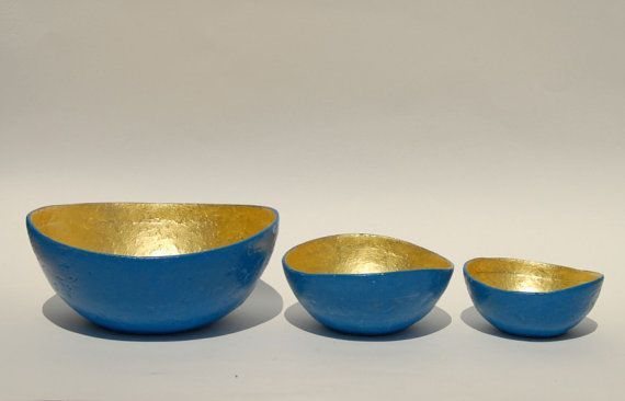 Bowl paper mache laguna blue with gold leaf