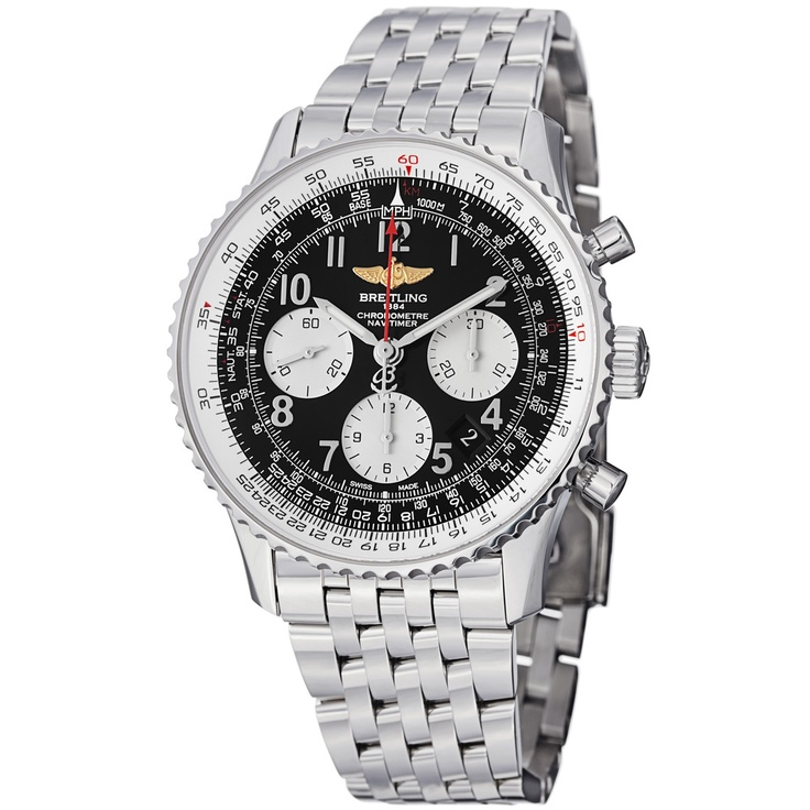 Breitling Mens Navitimer Black Dial Stainless Steel Automatic Watch