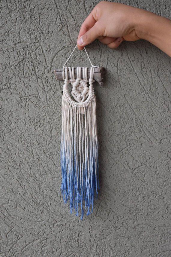 Indigo Dip-Dye Mini Macrame Wall Hanging Ombre Dip-Dyed Blue