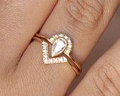 ON vente mariage Set - anneau de Carat poire diamant Couronne bague & Pave Diamond V 0,3 - 18k or