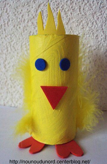 Faire du bricolage avec des rouleaux de papier de toilette / Paper Roll Easter Chicken Craft by nounoudunord