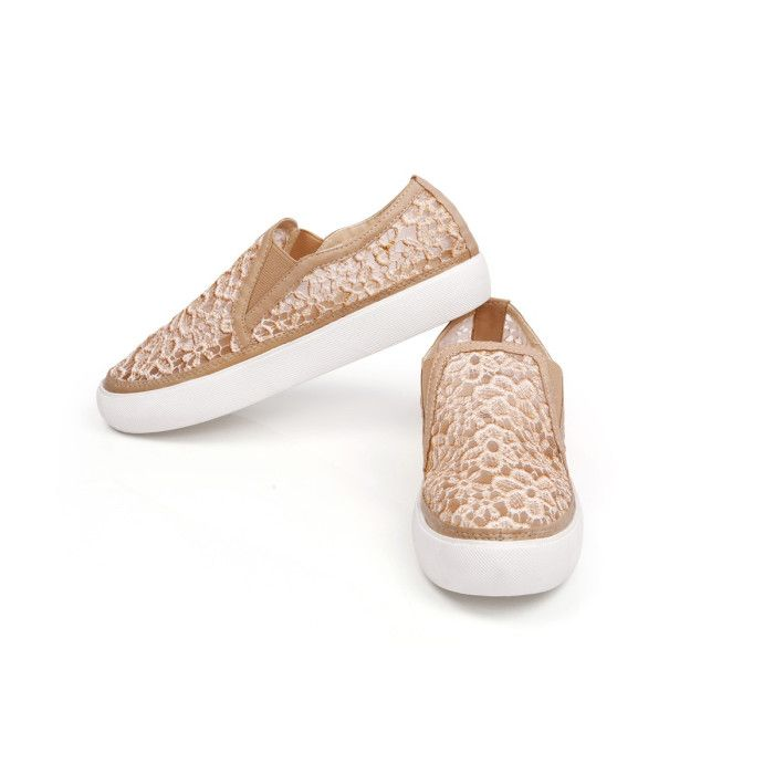 Everyday wear just got more romantic and fun with these feminine, lacy shoes. #BeigeEspadrilles #Espadrilles #sneakers #Beigesneakers #casual #day #biege