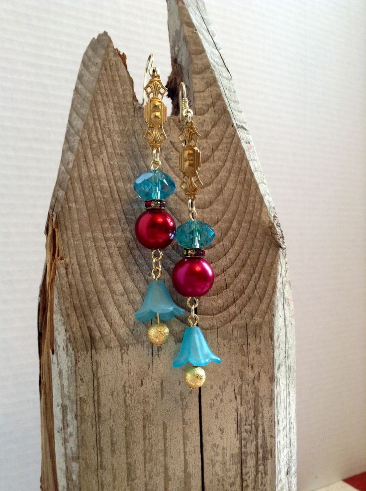Ooak earrings in teal and red by Catherine Otto