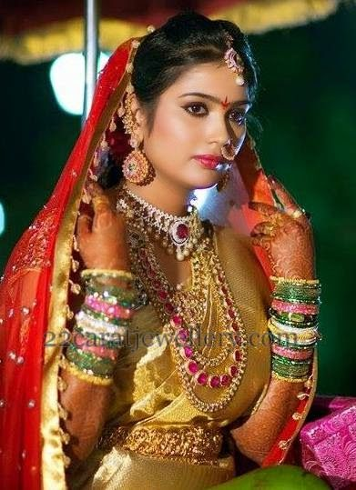 Bride in Ruby Haar Diamond Necklace | Jewellery Designs