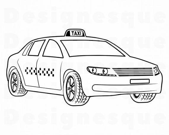 Taxi Outline Svg Taxi Svg Taxi Car Svg Taxi Clipart Taxi Etsy Svg Taxi Clip Art
