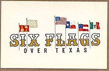 August 1, 1961 – The Six Flags over Texas theme park officially opens to the public.    The original logo for Six Flags over Texas.
