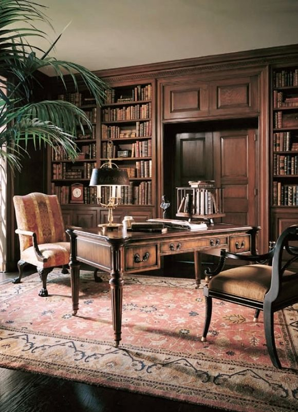 Industrial Study Room: Century Furniture. Sophisticated Traditional Study.