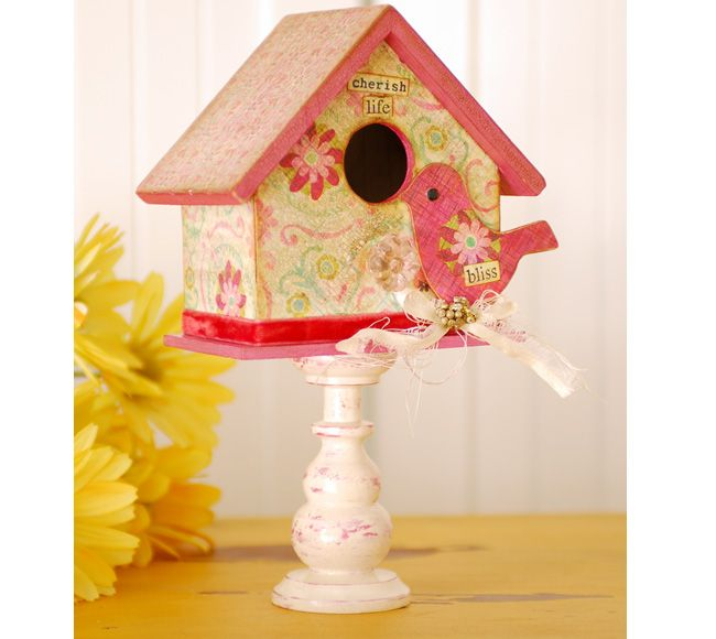 Pretty in Pink Bird and House: Nurseries Birdhouses, Adorable Addition, Pink Birds, Fun Birds Houses Design, Birds Nurseries Ideas Crafts, Houses Projects, Little Girls Birds Bedrooms, General Crafts, Adorable Birdhouses