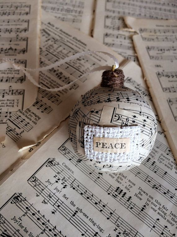 Handmade 'Peace' Music Note Ornament. Christmas, Holiday, Ornament, Holiday, DIY, Present, Christmas Present, Christmas Tree, Tree, Decoration, Love, Peace, Music, Music sheet, Happy Holidays