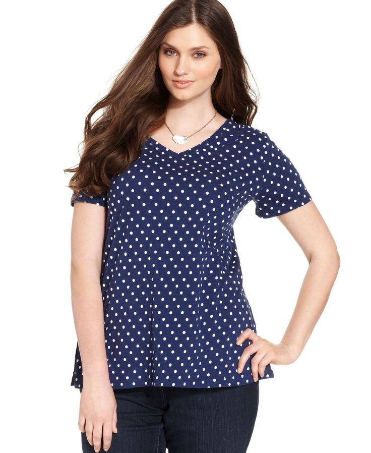 Style&co. Sport Plus Size Polka-Dot Short-Sleeve Tee