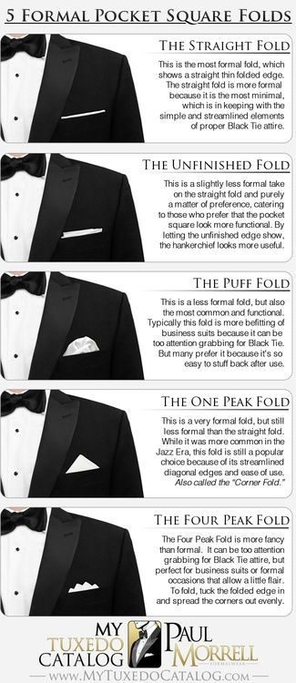 Formal pocket square folds | infographic | men's fashion
