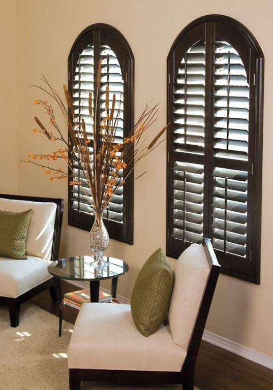 Norman Arched Shutters Stained Sussex 3 Blind Mice Window Coverings Window Shutters