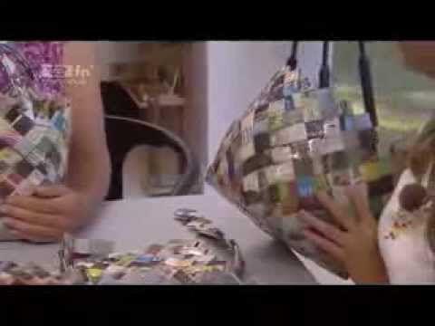 Buttet Kurv flettet af avispapir - candy wrap flet