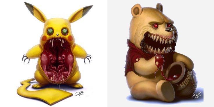 Il revisite les personnages célèbres de notre enfance en créatures terrifiantes