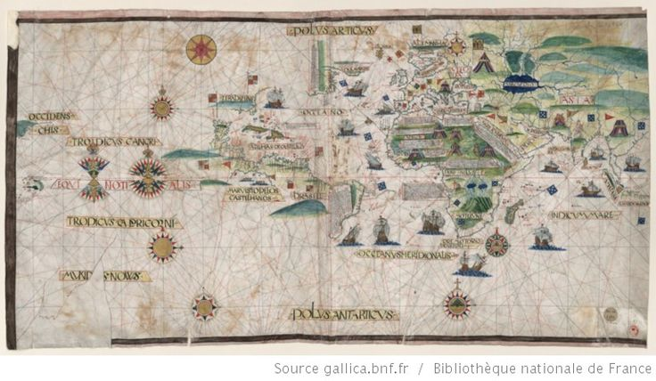 Jorge Reinel (1518?-1572) - «[Carte do mundo, ca 1519] »/ [Atribuida a Pedro Reinel], copiada por Otto Progel. 1843.  Biblioteca Nacional de França Cota: CPL GE AA-564 (RES)