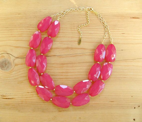 Raspberry Pink statement necklace Fuchsia by ThatsmineBoutique, $40.00