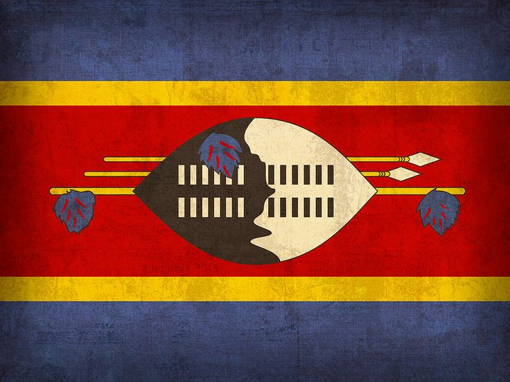 Swaziland Flag Vintage Distressed Finish Mixed Media