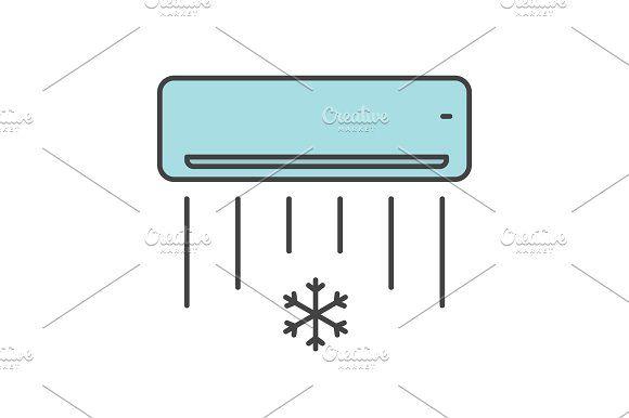 Air Conditioner Color Icon Air Conditioning Design Air Conditioner Icon