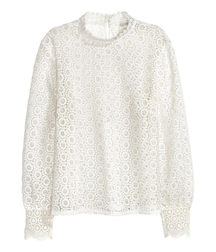 Kanten blouse | Wit | Dames | H&M NL