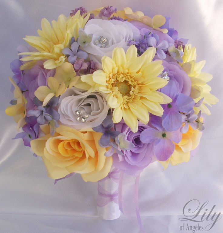 "17pcs Wedding Bridal Bouquet Set Decoration Package Silk Flowers WHITE LAVENDER YELLOW ""Lily Of Angeles"". $189.99, via Etsy."