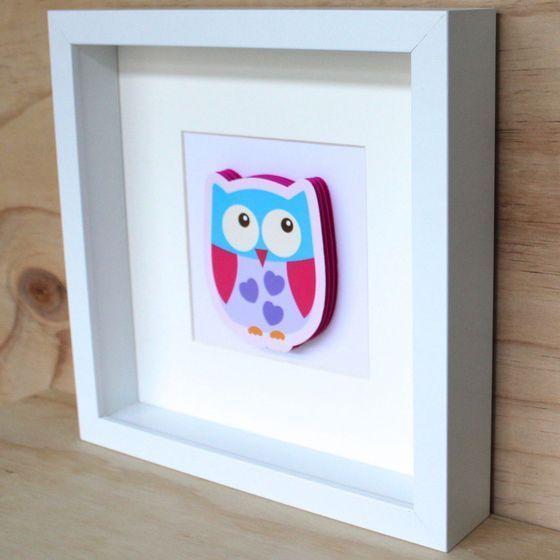 Image of 3D Sweet Pink Owl No. 3 Frame