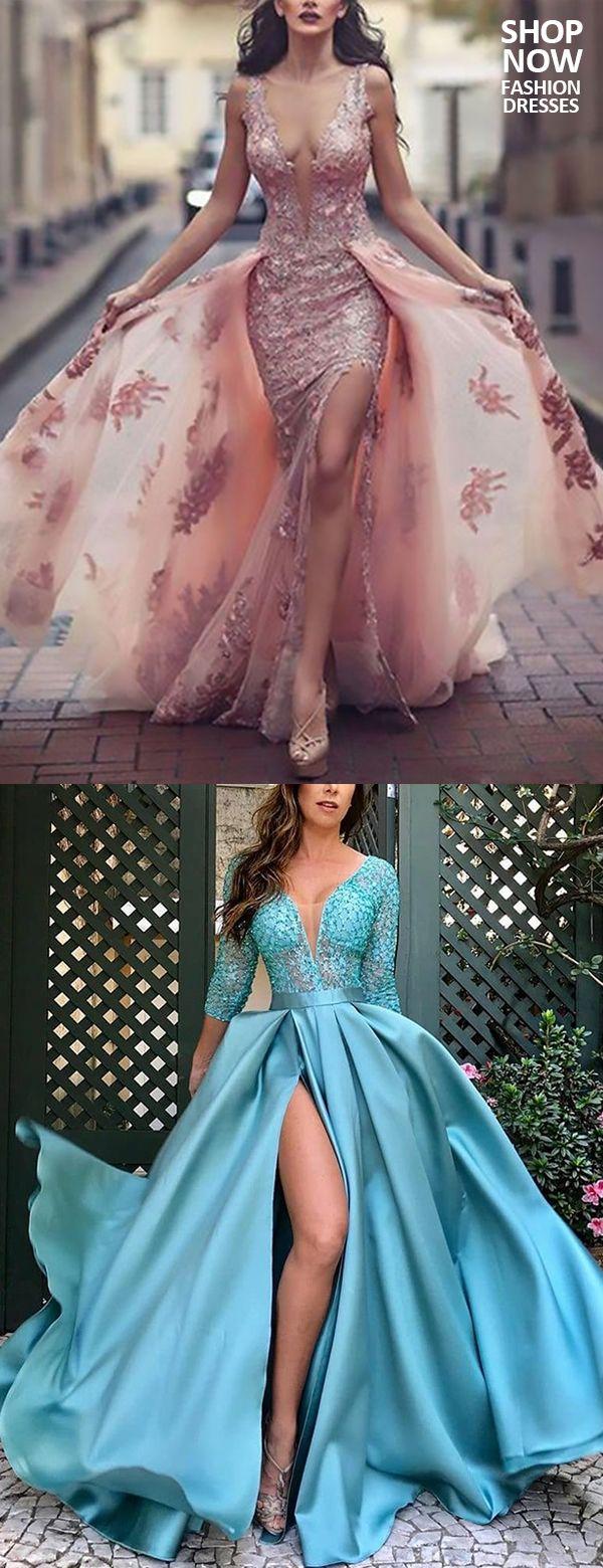 Elegant Deep V-Neck Paillette Bracelet Sleeve Slit Evening Dress