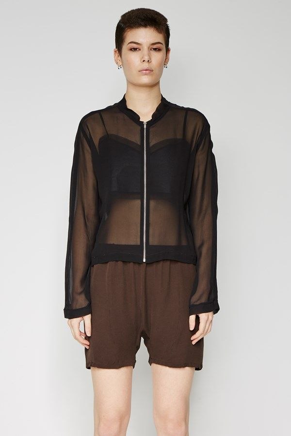 the zambesi ZIP JACKET in noir. a loose fit lightweight bomber with zip closure down centre front. made in new zealand.